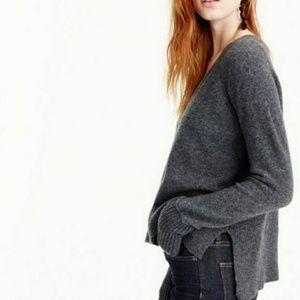 J Crew V Neck Sweater Wool Alpaca Soft Yarn Gray M